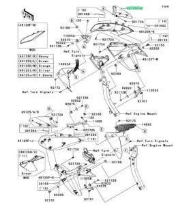 Kawasaki SHROUD,UPP,RH,F.S.BLACK ZR1000