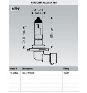 Osram Lamp 12V 51W HB4
