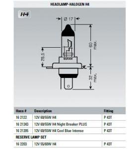 Osram Lamp 12V 60/55W H4 Cool Blue Intense