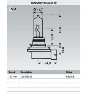 Osram Lamp 12V 65W H9