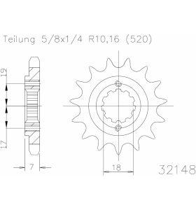 Esjot Tandwiel Voor 13T - 520