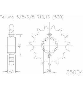Esjot Tandwiel Voor 16T - 530