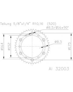 Esjot Tandwiel Achter Aluminium  51-32003-48