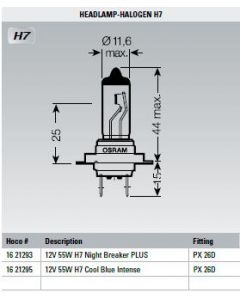 Osram Lamp 12V 55W H7 Cool Blue Intense