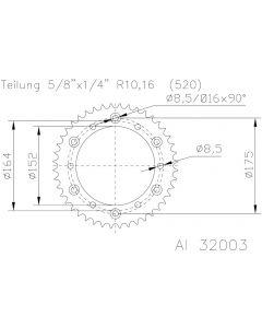 Esjot Tandwiel Achter Aluminium 51-32003-49
